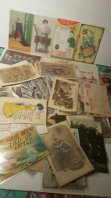 Lot Of 43 Antique Vintage Postcards RPPC Military Advertising Comic Animal