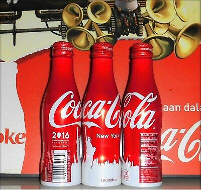 Limited Edition! 3 x Coca Cola STATUE OF LIBERTY New York Aluminum Bottles 8.5oz