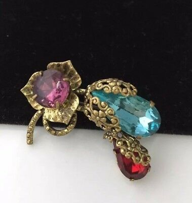 Beautiful Vintage Art Deco Czech Crystal Flowers And Buds Brooch