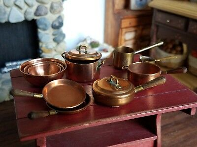 Dollhouse Miniature Artisan Copper Pots and Pans Lot 1:12
