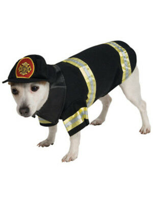 Black Firefighter Dog Fire Man Pet Costume Size Medium 16-18 With Jacket And Hat