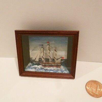 Paul Briggs Exquisite Miniature Ship In Shadow Box Made In England Signed/1993