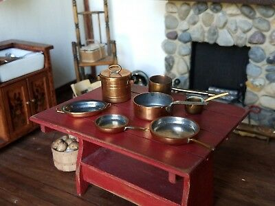 Dollhouse Miniature Artisan Country Treasures & Getzan Copper Pots Pans Lot 1:12