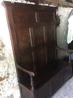 17th Century Antique Settle Bench Carved Oak circa 1634