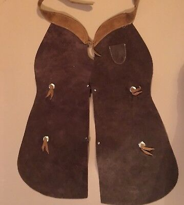Boys Vintage Sheplers Suede Leather Chaps