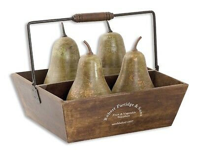 Uttermost Set of 5 Decorative Pears in Basket 19170