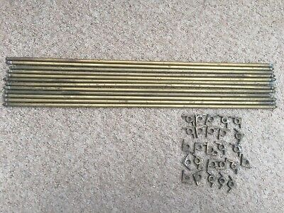 """Victorian Brass Stair Rods x12 & 25 clips Old Antique Acorn Ends  27""""length"""