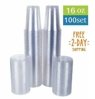 100 Clear Plastic Cups with Flat Lids Cold Drinks To Go Party Disposable 16 oz
