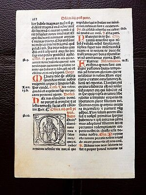 Antique Medieval Incunable Leaf Hand-Colored Letters Catholic Vellum around 1500