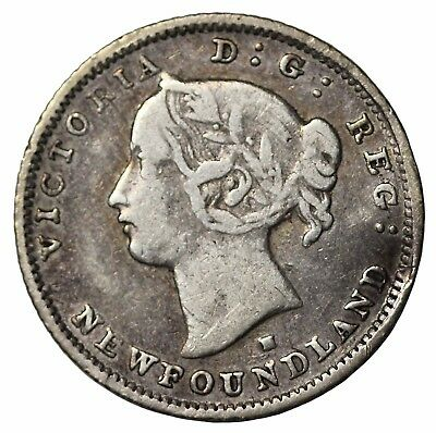 1876-H Newfoundland Silver 5 Five Cents Canada British Queen Victoria KM#2