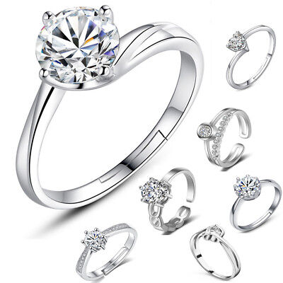Women Exquisite 925 Sterling Silver Ring Band Engagement Lady Girls Gift Wedding