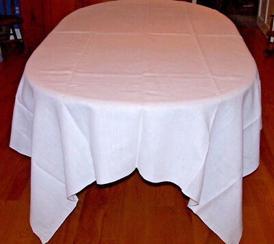 "Exceptional Vintage White Linen Tablecloth, Banquet Sized 103"", Pristine White"