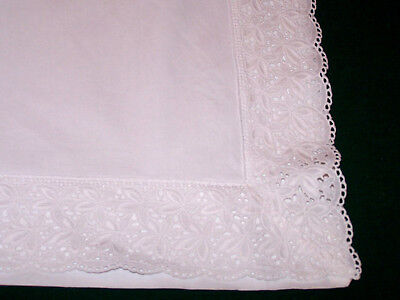 "INCREDIBLE VINTAGE EURO SHAM, BRODERIE ANGLAISE TRIM, 30"" x 30"" SNOW WHITE c1930"