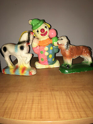 Lot of 3 Vintage  Carnival Chalkware Prizes - Dog, Horse and Clown