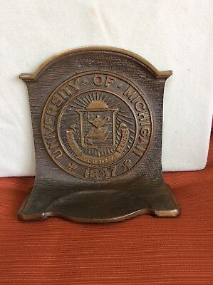 Vintage Cast University Of Michigan Book End
