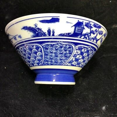 Asian Blue and White Porcelain Bowl Outdoor Scene