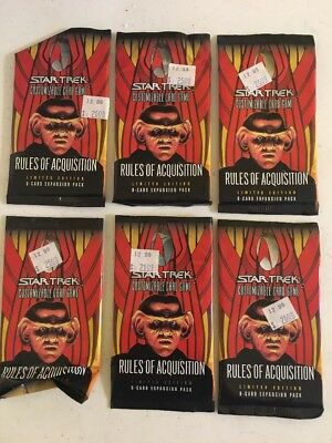 6 Star Trek CCG Rules of Acquisition Limited Edition Booster Packs Opened