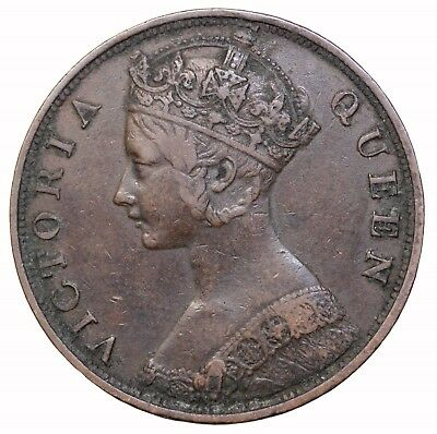 1876 Hong Kong One Cent Penny Queen Victoria Britsh Coin KM#4.1