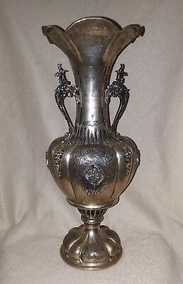 Antique Silver Vase .800 16'' Italian Hand Chased Craftsmanship Estate Sterling