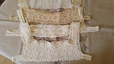 Antique Lot Of 4 HDMD Crochet Nightgown Yokes