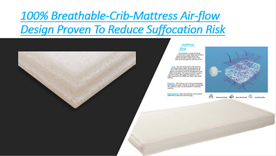 100% Breathable-Crib-Mattress Air-flow Design Proven To Reduce Suffocation Risk
