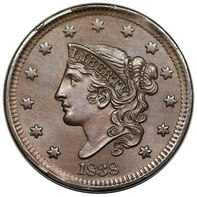 1838 Coronet Head Large Cent, N-1, PCGS MS64BN, choice