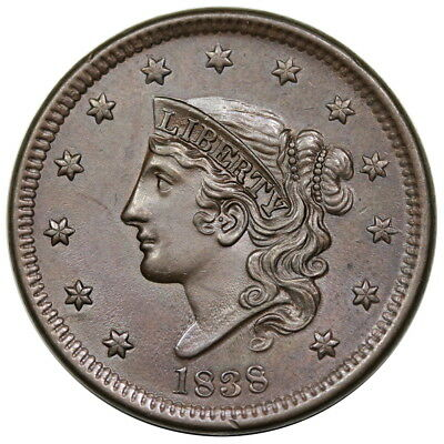 1838 Coronet Head Large Cent, N-7, PCGS MS62BN, choice