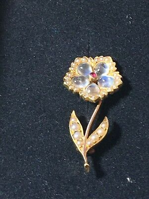 18ct. 750. Yellow Gold, Moonstone, Ruby & Pearl Flower Brooch