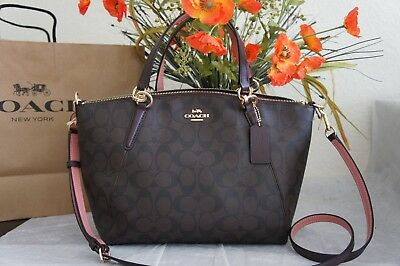 0792dc3f1c209 NWT Coach F28989 Small Kelsey Satchel In Signature Coated Canvas  Brown Oxblood