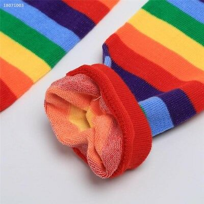 Baby Toddler Kids Girl Winter Leg Warmer Cotton Cute Rainbow Stripes Socks 3EC7