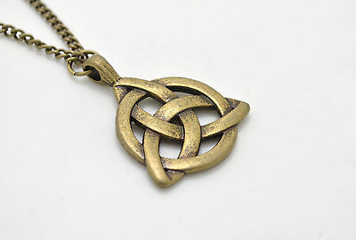 Celtic Triquetra Trinity Knot Pendant Bronze Plated Long Chain Necklace Fashion