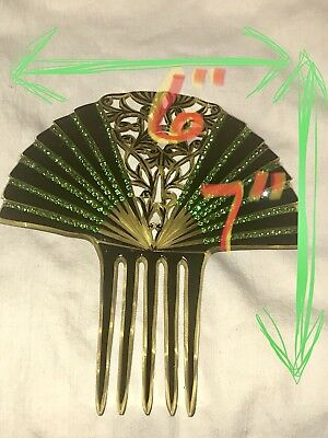 Antique Vintage Green Black Lucite Tiara Hair Comb Art Nouveau Deco Victorian ?