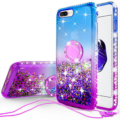 iPhone 8 Plus, iPhone 7 Plus Liquid Glitter Phone Case Girls Kickstand Purple