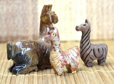Lot of 3 Vintage Peruvian Figural Llamas Hand Carved From Peru