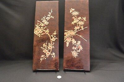 Two Vietnamese  Lacquer Wood Panel Wall Hangings, Black & Red with Gold Applique