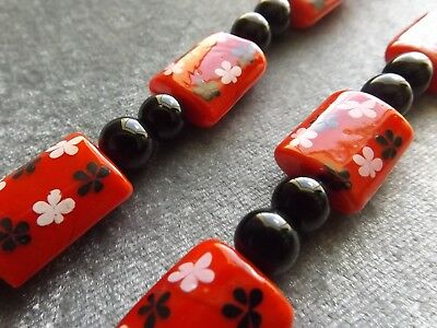 Red Glass Square Beads 15X20 Mm W/White Black Flowers Black Round Beads 8 Mm