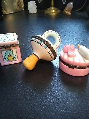 3 Pink Baby Girl First Tooth / Frist Haircut Trinket Box's