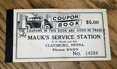 Vintage 1930`s Mauk`s Service Stations Coupon Book,Claysburg, Penna.