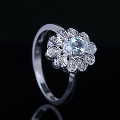 Stylish 6x4mm Oval Cut Genuine Aquamarine Diamonds 14K White Gold Wedding Ring