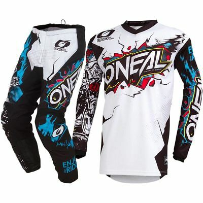 fbf3c2ab9 NEW Oneal 2019 Youth MX Element Villain White Jersey Kids Motocross Gear Set