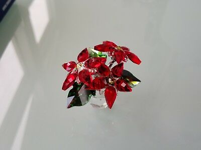 New in box beautiful Swarovski Small Poinsettia Crystal Christmas  figurine