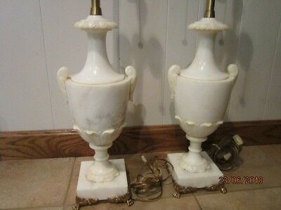 vintage marbro Neo classic alabaster marble custom carved  lamps