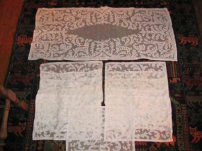 Antique 1800's  Hungarian Buzsak Needle-Turned Applique on Net Runner, Placemats