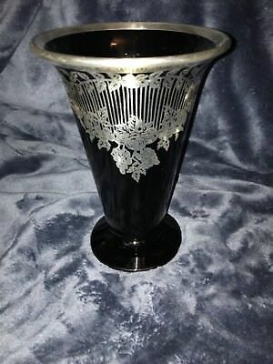 Retro Art-Deco Silver Overlay Black Art Glass Vase Foliage Scrolls Swags