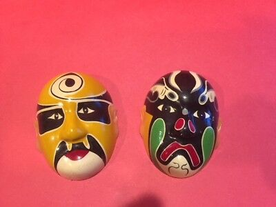 Chinese Opera Masks Ceramic Oriental Mini Faces Asian Wall Decoration