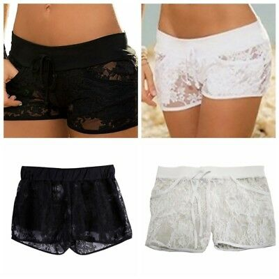 Womens Lace Transparent Floral Shorts Stretch Waist Casual Beach Short Hot Pants