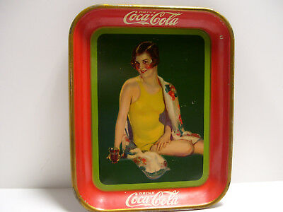 Vintage 1929 Coca-Cola Serving Tray Girl Yellow Bathing Suit  w/fountain drink