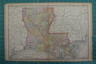 Louisiana Vintage Original 1894 Rand McNally World Atlas Map Lot