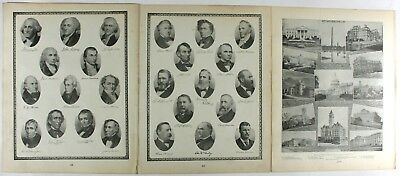 United States President Portraits Original Vintage 1889 Tunisons World Atlas