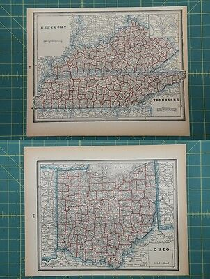 Kentucky Tennessee Ohio Vintage Original 1893 Columbian World Fair Atlas Map Lot